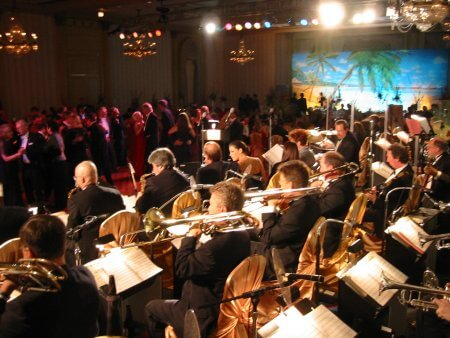 The orchestra facing the dance floor